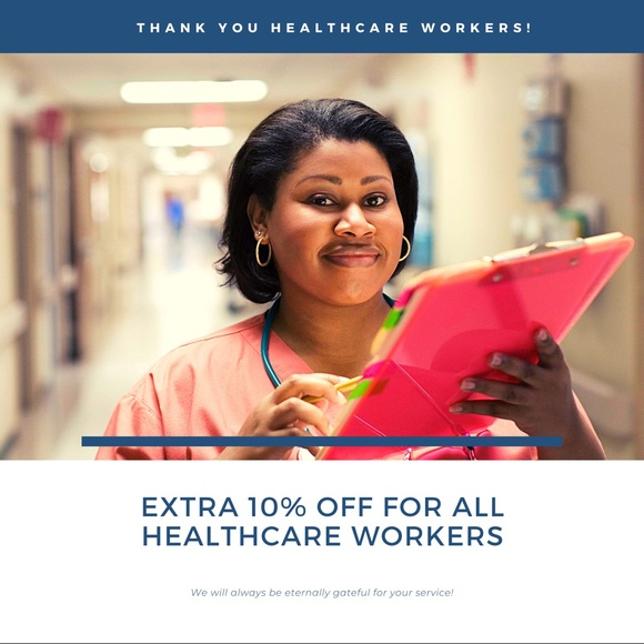 Extra 10% off for healthcare workers!